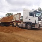 Side tipper on road works in western Queensland